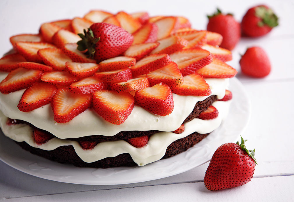 Summer Berry Chocolate Cake recipe made with canola oil