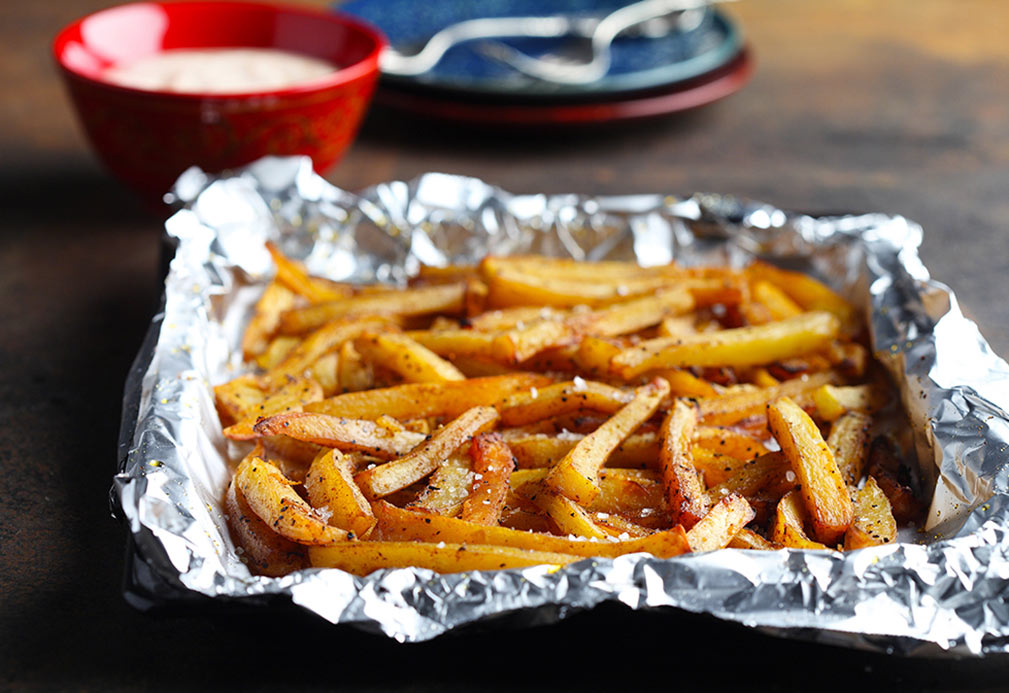 Sweet Potato Fries with Cajun Dipping Sauce recipe made with canola oil by Nancy Hughes