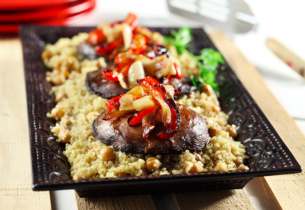 Vegetarian Portobello Mushroom Stack Over Quinoa recipe made with canola oil by Keri Glassman