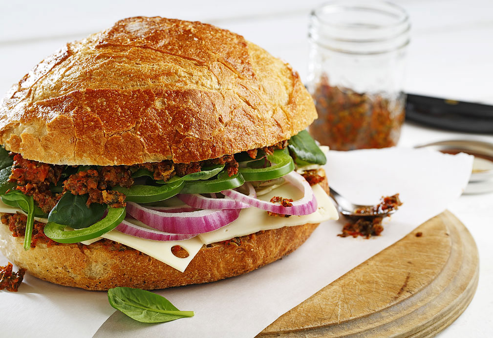 Vegetarian Sandwich with Sun Dried Tomato Spread recipe made with canola oil in partnership with the American Diabetes Association