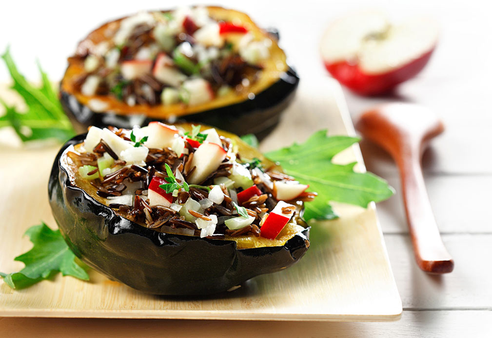Wild Rice and Apple Stuffed Acorn Squash recipe made with canola oil by Julie DesGroseilliers